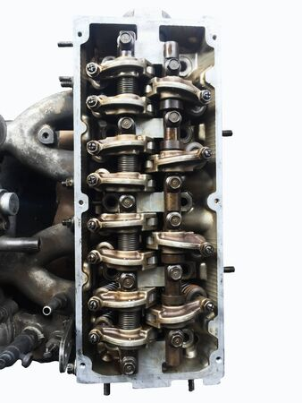 Close-up shots of the camshaft of the internal combustion engine closed and the valve