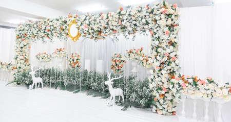wedding flower decoration. flower backdrop background . wedding background