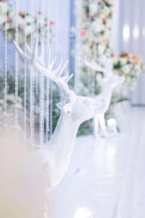 The deer is made of foamม wedding decoration. wedding background Banco de Imagens