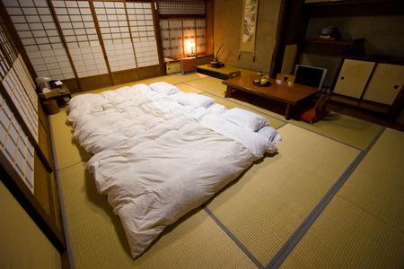 Beppu, Japan - April 4, 2008: Traditional Japanese style room (Ryokan) in Beppu, Japan.
