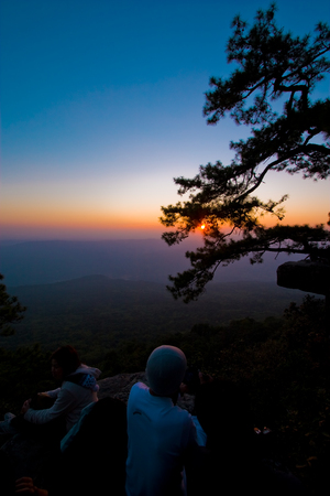 loei: Silhouette sunset on the mountain at Phukradueng National Park, ThaiLand. Stock Photo