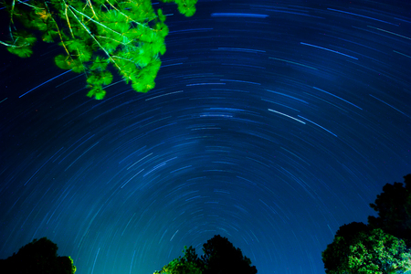 Long exposure of star trails over Phukradueng National Park of Thailand.