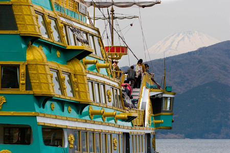 Hakone, Japan - April 4, 2008: Hakone sightseeing pirate cruise ship (The Vasa) on Ashi lake. Hakone is one of the most popular destinations of Japanese and international tourists. Editorial