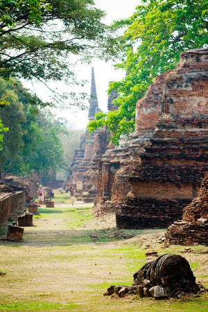 The ruin and collapsed pagoda in Ayutthaya Historical Park, Thailand.