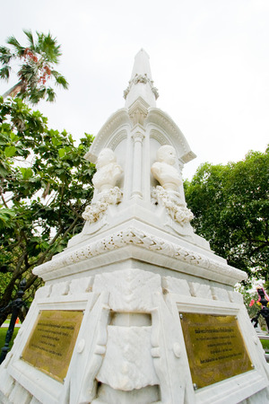 Phra Nakhon Si Ayutthaya - March 1, 2008: Monument of Queen Sunanta, King Rama Vs royal consort, and their son who were died in a boat accident at Bang Pa-In Royal Palace. Editorial