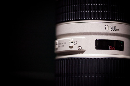 shutter aperture: Telephoto lens with automanual focus switch option. Stock Photo