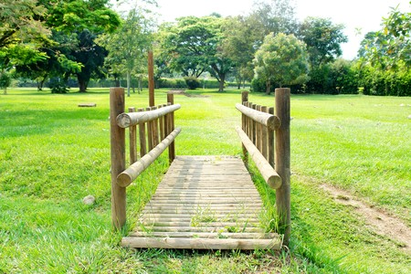 tropical wood bridge on green grass background    photo