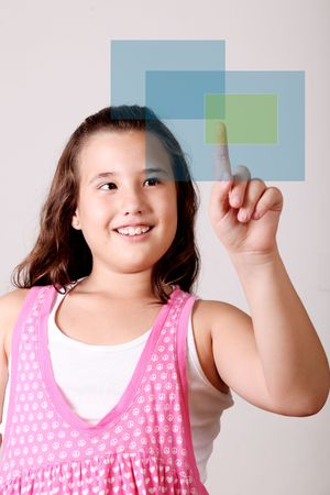 Girl pointing to a virtual table. Space to insert text or product Stock Photo - 5879607