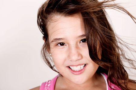 Photograph of a girl with her hair up in the wind Stock Photo - 5879532
