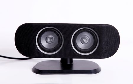 Black speaker over white background. Sound and audio image Stock Photo - 5880016