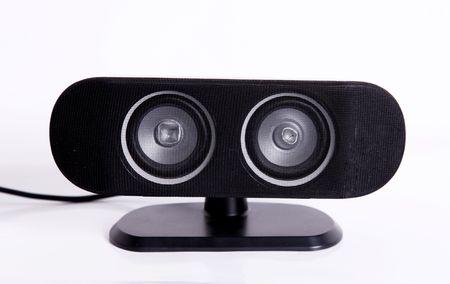 Black speaker over white background. Sound and audio image Stock Photo - 5880016