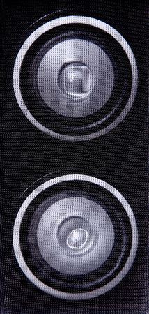 two black speakers. sound and audio  background Stock Photo - 5879994