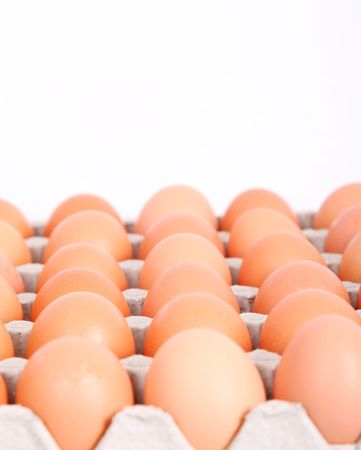 Package of colored eggs. Raw food image photo