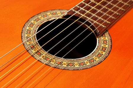 Wooden guitar close up. Musical instrument image photo