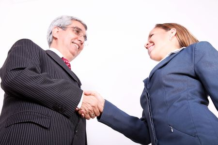 Business man greeting business woman on white background. low angle Stock Photo - 6068774