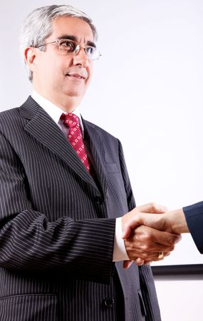 Business man greeting business woman on white background Stock Photo - 6068775