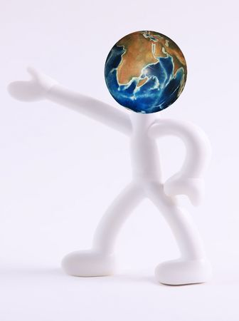 Icon of person with world head. White background photo