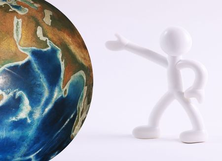 Icon of person showing world. White background photo