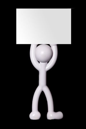 White icon person with blank advertisement. To insert text or design photo