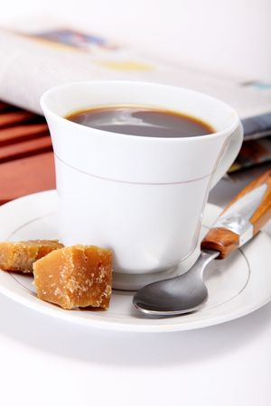 White cofffee cup with sugar and spoon photo