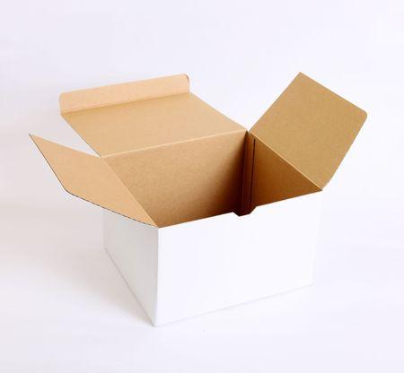 Open cardboard box on white background. Empty image Stock Photo - 6195993
