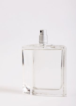 Glass lotion bottle on white background. One object photo