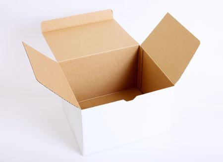 Open cardboard box on white background. Empty image Stock Photo - 6196232
