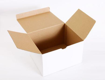 Open cardboard box on white background. Empty image Stock Photo - 6231336