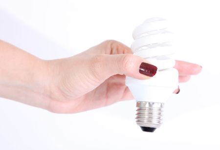 A hand with saving bulb on white background photo