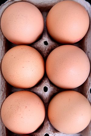 High view of Several eggs in a package over white background photo