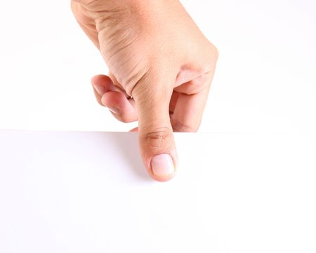 Hand holding a white paper. space to add your text or design photo