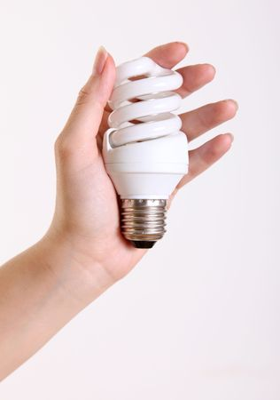 Hand holding a lightbulb on a white background photo