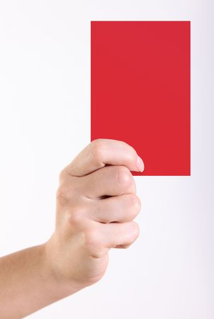 Woman hand with red card over white background photo