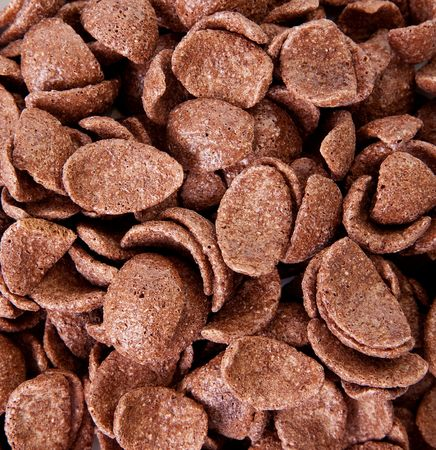 Texture of chocolate cereal. Food image background photo