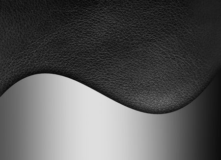 fine silver: Black leather texture with chrome wave. Background Stock Photo