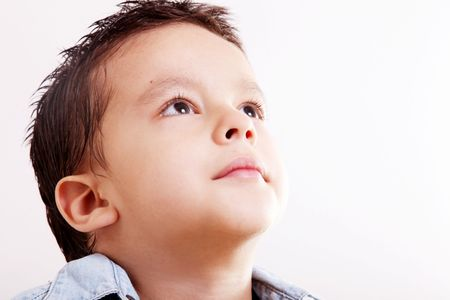 optimism: Child looking  up, 5 years old  Stock Photo