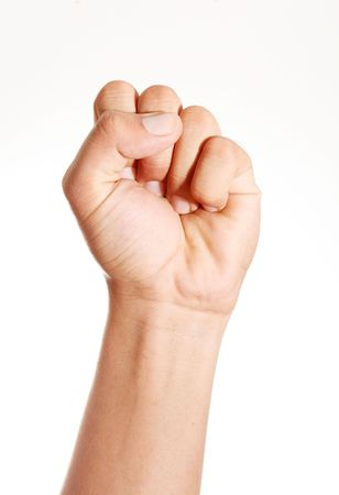 grabbing hand: Hand clenched in front of the camera over white background Stock Photo