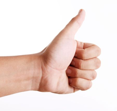 Hand showing a positive attitude. white background, Ok sign Stock Photo - 6814911