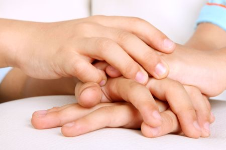 Hands of children, concepts of solidarity and teamwork photo