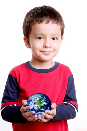 space age: Child with planet in his hands, over white background Stock Photo