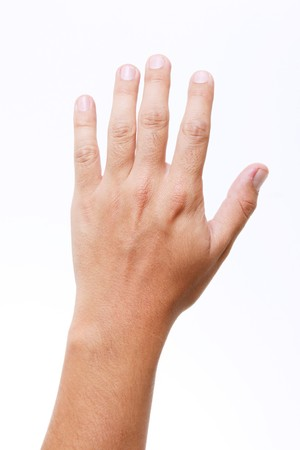 Man hand over white background. Isolated image photo