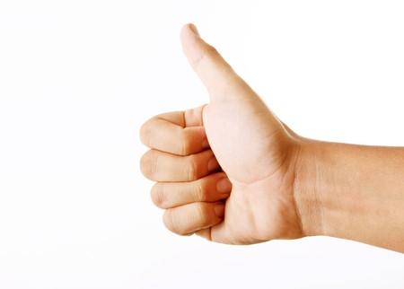 Ok hand on white background. Expressing Positivity photo