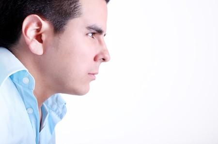 hombre de perfil: Perfil de hombre cara sobre fondo blanco. Espacio para insertar texto o dise�o