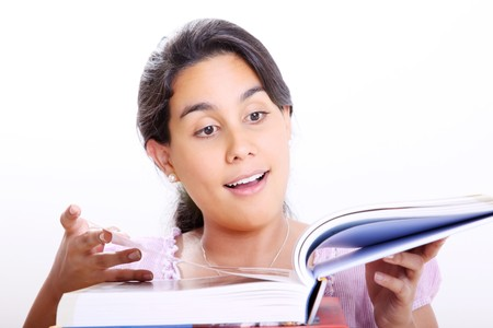 Girl reading a book and surprised. White Background photo