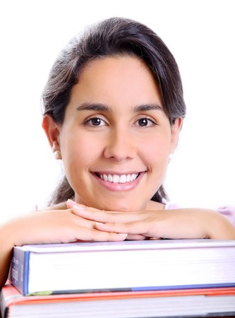 Face of a young girl lying in the books photo