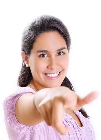 Student pointing and looking at the camera. White Background photo