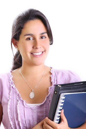 Student with books smiling and looking the camera photo