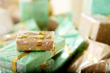 Group of green and  brown gifts. Holiday image photo