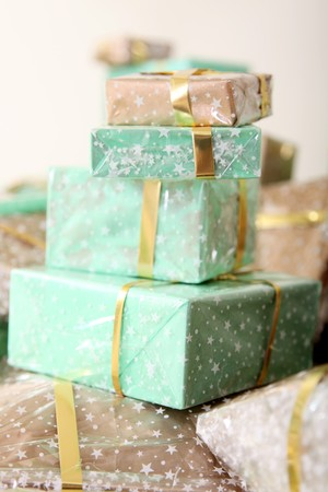 Group of green and  brown gifts. Holiday image Stock Photo - 7267774