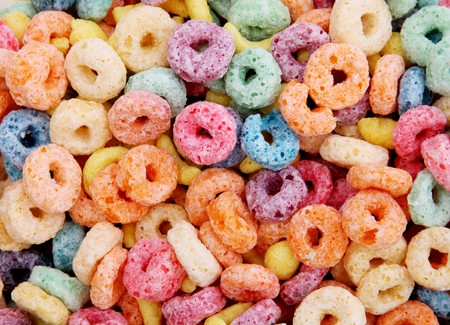 orange, blue, green and purple cereal fruits photo